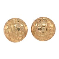 Vintage 14 karat Yellow Gold Button Style Earrings with Checkerboard Pattern