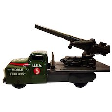 Marx Mobile Artillery Long Tom Cannon Truck with Original Box