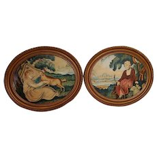 Pair very good folk art watercolors - Circa 1st quarter 19th century.