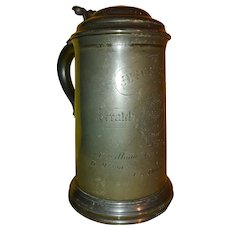 """Pewter tankard """"Scratch Fours"""" Sculling award to Jesus College, Oxford England in 1876."""