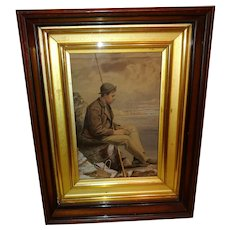 Young Fisherman With Catch and Basket, Walnut and Gold Leaf Frame, Circa 4th Quarter 19th Century.