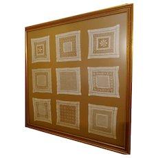 "Nine Framed Samplers ""Drawn Work"" Handkerchiefs"