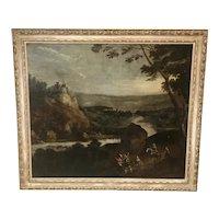 "Flemish school circa  1670- 1690 "" landscape with figures"""