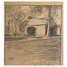 """1890's impressionist  American Drawing """"Back on the farm  """" by well listed Rhode Island artist Frank Marshall"""