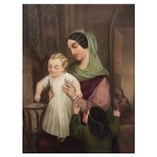 """"""" Mother and child"""" 1849 Watercolor by well listed Austrian artist Adolf Theer"""