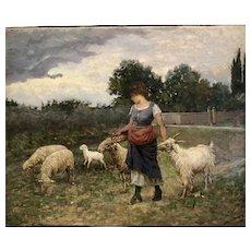 """Young Girl with sheep "" Italian school circa 1880"