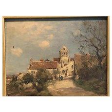 """Jean Eugene Masse[1865-1950] French """" Village Landscape """" 1885"""
