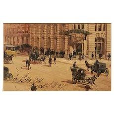1890s impressionist watercolor of Manhattan 24 E. 23rd St.