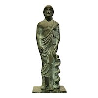 Bronze sculpture of ancient Greek god of medicine ,Asclepius with serpent