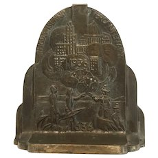 Bronze or brass 1936 Rhode Island Tercentenary rare and unusual doorstop or book and