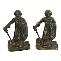 Vintage classic pair of pirate with treasure chest  bookends