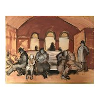 Waiting for the train circa 1920 by American artist Boardman Robinson