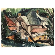 """Mid century modern watercolor by Blumenthal """" Hanging in the laundry"""""""
