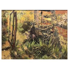 """Painting """"The garden well"""" 1944 by Listed Spanish /argentine artist Juan Orihuel"""
