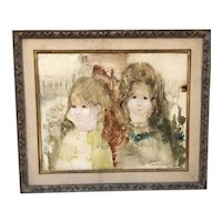 Original oil painting young girls by modernist Susan Sahall