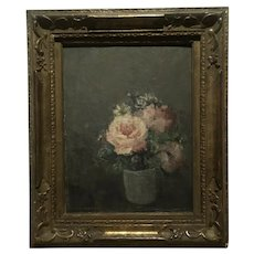 Flowers in a vase , exhibited  by Important French Artist Henri Dumont