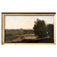 1874 signed oil painting Barbizon landscape with antique gold frame