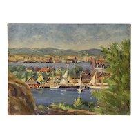 Gloucester Massachusetts 1920s original oil painting