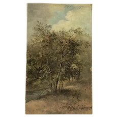 1874 American impressionist landscape or painting study of a tree