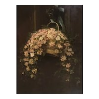 "Rare 1880 American Trompel'oeil painting ""Flowers hanging "" by Mary EB Miller"