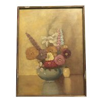 "American 1920s oil painting ""flowers on the table"""