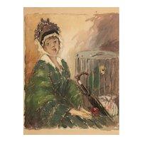 Woman and parrot my listing New York/Arkansas Artist  and illustrator Nesbitt Benson (1861-1930)