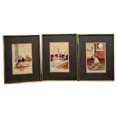 Harris B Steinberg, three exhibited illustrations
