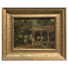 1860's American landscape with  Villa signed illegibly