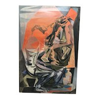 """""""All that Jazz """" American Cubist oil painting  signed Hirsch 1954"""