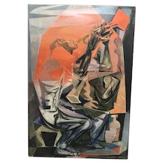"""All that Jazz "" American Cubist oil painting  signed Hirsch 1954"