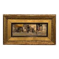 """People in the market Place "" circa 1920 listed Italian impressionist Leonardo Bazzaro"
