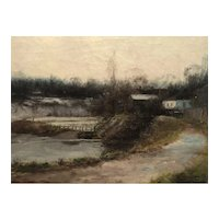 Houses along the river 1912 by John Paul hunt Canadian artist and teacher