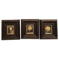 Set of contemporary Rose Paintings in antique 1860's American frames