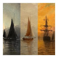 Set of three 1870s English nautical oil paintings of ships at sea estate fresh