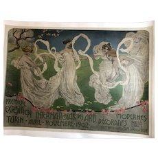 Original 1902 art nouveau  exhibition poster by Italian artist Leonardo Bistolfi (1859-1933)