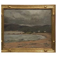 1920s signed American oil painting houses on the beach