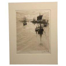 "Joseph Pennell rare Philadelphia etching ""Below Chestnut Street bridge"""