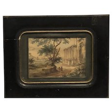 Circa 1780 southern European landscape classical ruins and figures