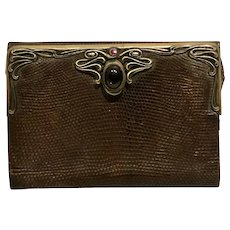 1880s American art nouveau Sterling is snakeskin purse by Bailey banks and Biddle