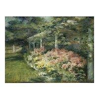 Rare American impressionist 1912 outdoor garden Alice Stackpole (1867-1949)