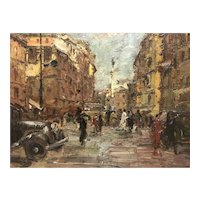 Early impressionist Cityscape signed illegibly