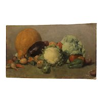 Turn of the century impressionist signed still life with vegetables