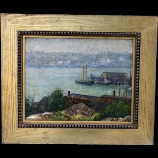 Along the docks, circa 1900 American School