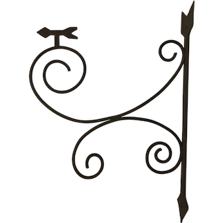 Arrow Folk art wrought  iron scrolled hammer bracket for trade sign/ directions