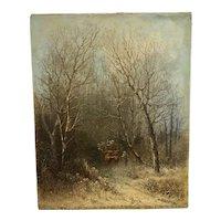 "Thomas L Smith ( 1835-84) New York artist "" Winter Travelers"" circa 1860's"