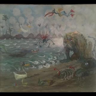 Seaside fantasy oil Circa 1920 by Orlando Rouland (1871-1945)