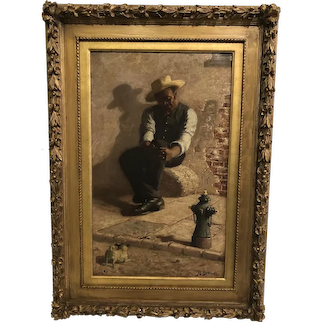 """Young man and this Dog"" 1891 Joshua Biehn ( active 1891-1899)"