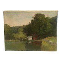 "Circa  1880 Connecticut  painting by Genovese  Allis (1864-1914) "" House by the lake"""