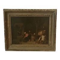 "Dutch school  Old Master painting  ""Feeding the cat ""circa 1690- 1710"