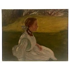 """""""The Young woman in a landscape  """" circa 1915 by Boston artist Frank Tompkins (1847-1923)"""